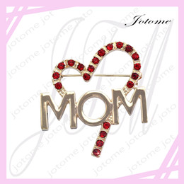 Wholesale Words Rhinestones Pins - 100PCS Lot 2017 China Wholesale Factory Direct Red Heart Love MOM Word Brooch Pin Mother's Day Gift