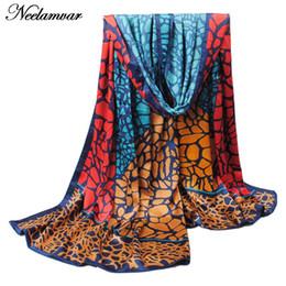 Wholesale Scarf Stoned - Wholesale-new fashion scarf Spring and Autumn silk feeling smooth scarf stone pattern print plus oversized scarves bohemia women hijab