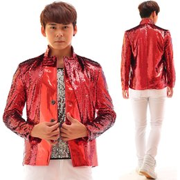 Wholesale Customized Leather Jackets - Plus Size Customized Men's Jacket Red Sequins Slim Costume Male Dj Singer Outfit Stage Performance Outerwear Blazer