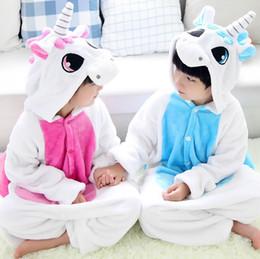 2019 pigiama sirena 2017 HOT Kids Flannel Unicorn Warm Pyjamas Unicorn per bambini One-piece Home Cosplay Set Conveniente sul design del water