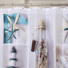 Wholesale Sea Shell Bathroom - Wholesale- High Quality Shell Starfish Sea Life Waterproof Fabric Bathroom Shower Curtain With 12pcs set Ball Shower Ring Hooks 180cm*180
