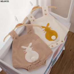 Wholesale Baby Boys Overalls - 2017 Spring Baby Rabbit Rompers Infant Sweet Knitted Overalls Bunny Baby Jumpsuit Toddler Baby Girls Boys Clothing