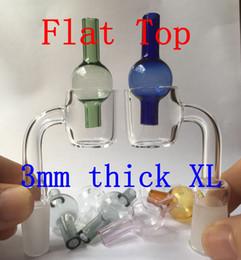 Wholesale Nail Balls - Flat Top XL Quartz Banger Nail + Glass Ball Carb Cap 3mm Thick With 25mm OD Female Male 10mm 14mm 18mm 45 90 Nails
