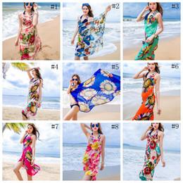 Wholesale Sarong Wraps - Women Floral Bikini Cover Ups Print Sexy Pareo Beach Dress Bohemian Sarong Chiffon Beach Bikini Wrap Swimwear Scarf Shawl Brace OOA1281