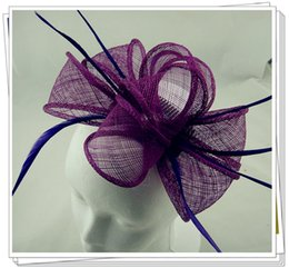 Wholesale Sinamay Hat Black - Free shipping multiple colors millinery New Sexy Lady Girl Large Headband Sinamay Fascinator Hat on Party Church Wedding,6 pieces lot,L51