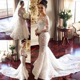 Manga crepe vestido de casamento on-line-2017 mangas compridas vestidos de casamento com overskirt trem destacável de luxo lace wedding dress sheer neck 3d apliques vestidos de noiva africano