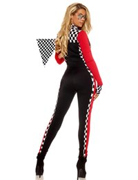 Wholesale Sexy Car Clothes - costume belt MOONIGHT Long Sleeve Sexy Uniforms Race Car Driver Halloween Costumes For Women Deep V Sexy Game Uniforms Clothing Jumpsuits