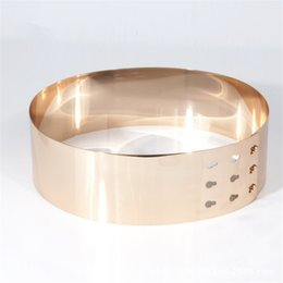 Wholesale Belt Corset Metallic - Wholesale- High Quality Metal Keeper Metallic Mirror 7cm Wide Belt Corset Women Punk Cummerbund Gold Silver love lockdown belt BL03