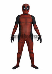 Wholesale Kids Lycra Bodysuit - 3D Deadpool Costume Bodysuit Printed Spandex Lycra Zentai Costumes with Muscle Shading