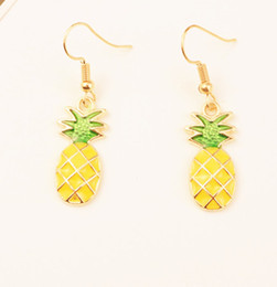 Wholesale Silver Pineapples - 10 pairs 2017 Selling fashion pineapple fruit earrings, show the charm of different, as the best gift
