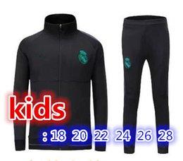 Wholesale Youth Boys Jackets - top quality kids jacket set 2017 2018 Real Madrid soccer jackets kits 17 18 RONALDO KROOS BENZEMA BALE ISCO MODRIC youth tracksuit jacket.