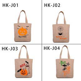 Wholesale Wholesale Jute Totes - Halloween Horror Pumpkin Festival Jute Bag Halloween Festival Gift Shoulder Bag 4 Styles Halloween Tote Bags 0708088