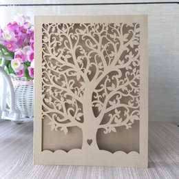 laser cutting wedding card designs Coupons - Wholesale-30pcs lot free shipping chic tree and love heart design laser cut wedding invitation cards party decoration christmas invitation