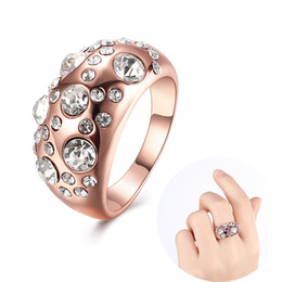 Wholesale Rhinestone Rings Side Stones - Women Green Jewelry 18K Gold Plated Rose Gold Ring with Side Stones Rhinestone Crystal Jewelry Girl Hip Hop Party Fashion Best Friend Gifts