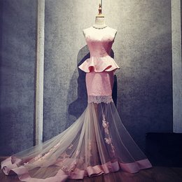 Wholesale Purple Peplum Skirt - 2017 Stunning Mermaid Prom Dress Sheer Skirt Sexy Sweetheart Sleeveless Lace Gowns with Appliques and Peplum See Through Court Train