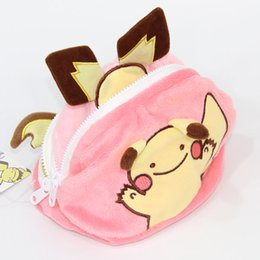 Wholesale Pokemon Coins - New Pikachu Raichu Pocket Monsters Poke Doll Plush Three Surface Buggy Bag Coin Bag For Child Gifts ( 3pcs Lot  Size: 18*12cm)