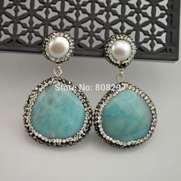 Wholesale Drop Shape Gem - New 3Pair Pearl & Drop Shape Druzy Faceted Agate Stone Dangle Earrings Paved Black Gun Crystal Zircon Handmade Gems Earring
