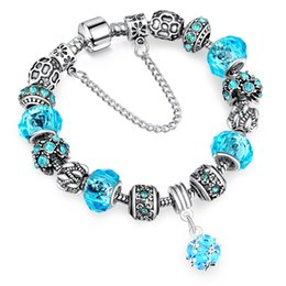 Wholesale Jewellery Silver Bracelets - European Authentic BEADS jewelry silver plated beads Charm Bracelets & Bangles Crystal&Glass Beads Bracelets For Women DIY Jewellery AA123