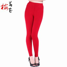 Wholesale cashmere leggings women - Wholesale- More Thick thermal underwear Cashmere Skinny leggings 2-layers warm underwear Wool Warm pants women clothing sous pull femme