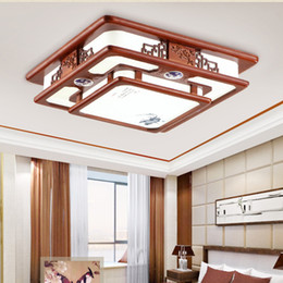 Wholesale Chinese Style Ceiling Light Pinus sylvestris Frame Imitation Sheepskin lampshade Living Dinning Bedroom Room Carving Lamp Indoor Lighting