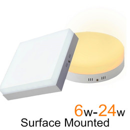 Wholesale Led Plafond - Wholesale- Surface Mounted Led Down Light Plafond Led Square Downlight Round Panel Ceiling 6W 12W 18W 24W 220V For Home Bedroom Lighting