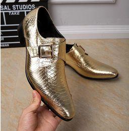 Wholesale Golden Party Shoes - Genuine Leather Men Shoes Luxury Golden Business Formal Dress Shoes Brogues Party Banquet Buckle Oxfords Men Monk Strap Shoes