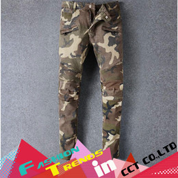 Wholesale Nwt Mens Slim - Wholesale-NWT Famous Fashion brand jeans camouflage men Patchwork Straight pants mens locomotive denim biker pantalones Stretch Slim jeans