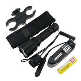 Wholesale Cree Red Hunting Lights - U-F C8 Q5 LED Hunting Flashlight Torch Cree Led Red Green Blue Light Camping Lamp 1 Mode +18650 Battery+Charger+Gun Mount+Switch