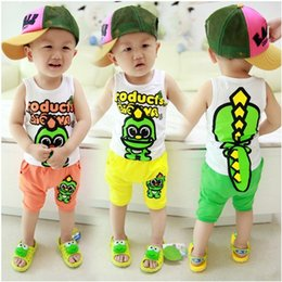 Wholesale Seat Boy - Summer baby boys girls children's clothing set 3D dinosaur open-seat pants suit sleeveless casual vests+shorts kids clothes sets