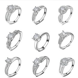 Wholesale Wholesale Asian Bridal Jewelry - free shipping 1pcs 925 Silver Fashion Elegant Crystal Cubic Zirconia Diamond Bears Silver Bringes Bridal Engagement Wedding Rings Jewelry