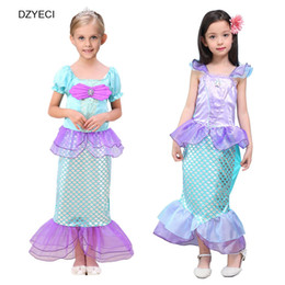 Wholesale Teenage Princess Style Dresses - Mermaid Carnival Costumes For Girls Lace Dress Halloween Children Teenage Cosplay Deguisement Princess Dresses Clothes 10 Year