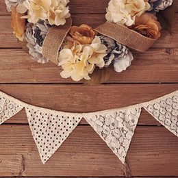 Wholesale Home Decor Supplies Wholesale - Wholesale-98 inch 10Pcs Flags High Quality Vintage Lace Flag Wedding Birthday Party Decoration Banner Bunting Home Decor Event Supplies