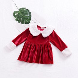 Wholesale Little Princess Dresses Free Shipping - INS hot selling New Christmas style girl plush detachable collar dress long sleeve round collar cotton little princess dress free shipping