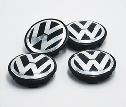 Wholesale Vw Emblem 55mm - For VW Volkswagen 55mm 65mm Wheel Center Cap Dustproof Cover Wheel Hub Cap Flat Face Emblem Badge For Volkswagen 6N0601171 High Quality