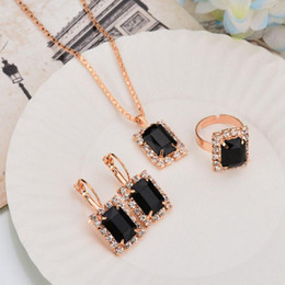 Wholesale Red Earrings Necklace Sets - New Arrivals Wedding Gift Jewelry Square Crystal Earrings Necklace Adjustable Rings Set Fashion Jewelry for women