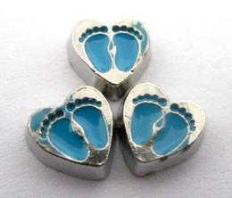 Canada 20pcs / lot bleu pied impression coeur flottant médaillon charmes fit pour mémoire vivante médaillon flottant résultats de bijoux supplier blue float Offre