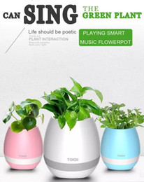 Wholesale Modern Round Vase - Plastic Bluetooth Smart Music Flower Pot Cute Round Pink Blue white colors for Home Garden Office Decor USB