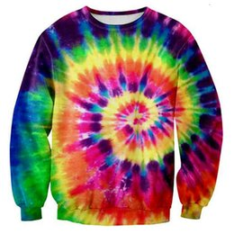 All'ingrosso-Colorato Tie Dye Style Felpa con cappuccio da uomo Moda Magia Swirl Pattern 3D Sweat Tops Girocollo Pullover manica lunga Outwear da cravatta color tazze fornitori