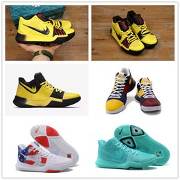 Wholesale Bruce High Quality - 2017 Hot Kyrie Irving 3 Bruce Lee Basketball Shoes for High quality Kyrie 3s What the USA Black Yellow Sports Training Sneakers Size 40-46