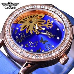 Wholesale Watch Female Mechanical - Winner 2017 Blue Butterfly Design Rhinestone Stone Female Dress Clock Women Watches Top Brand Luxury Ladies Quartz Wristwatches