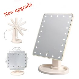 Wholesale Led Lit Mirrors - New upgrade LED Make Up Mirror 360 Degree Rotation Touch Screen Cosmetic Mirror Folding Portable Compact Pocket With 16 22 LED Lights Makeup