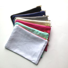 Wholesale Canvas Makeup Bags Wholesale - 35pcs lot solid color canvas makeup bag with gold zip gold lining 6*9in cosmetic bag for DIY print black white grey pink navy mint color