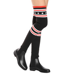 Wholesale Sexy Over Knee Flat - Latest Women Over The Knee High Boots Sexy Elastic Socks Martin Boots Stars Stirpes Knitting Black Women Motorcycle Winter Boots Zapatos