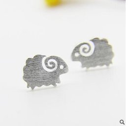 Wholesale Crown Drawing - 925 pure silver Sterling silver allergy free silver wire drawing birds Little sheep crown earrings Lovely earrings
