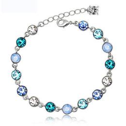 Wholesale Silver Charm Bracelet Pink - Blue Pink Green Purple Crystal Bracelets Silver Gold Women Bracelet Fashion Jewelry DROP SHIP 162290