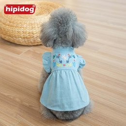 Wholesale Dog Denim - Hipidog New Arrival Embroidery Clothes Dog Cat Jeans Denim Dress Pet Flower Sleeves Clothes Apparel Costume XS-XL for Small Dog