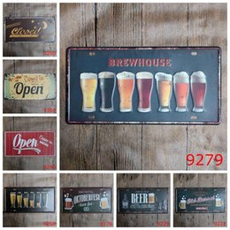Wholesale Vintage Antique Cars - Beer Open Closed Car Metal License Plate Vintage Home Decor Tin Sign Bar Pub Cafe Garage Decorative Metal Sign Art Painting Plaque