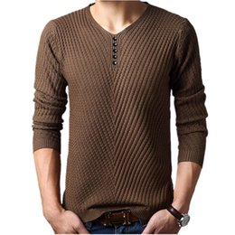 Wholesale Mens Wool Jerseys - Wholesale- M-4XL Winter Henley Neck Sweater Men Cashmere Pullover Christmas Sweater Mens Knitted Sweaters Pull Homme Jersey Hombre 2017
