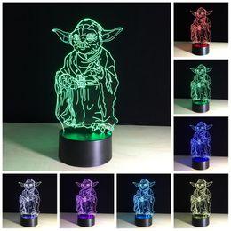 Wholesale Mini Energy Saving Lamp - Star War Yoda Master Muiti color 3D lamp gradual change energy saving mini led night light