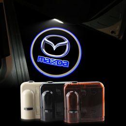 Wholesale Door Logo Light Mazda - 2X Car Door Lights LOGO Ghost Shadow for Mazda 2 3 6 8 cx5 7 LED Welcome Lamps Universal Wireless 3D HD Warming